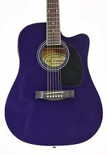 Purple Acoustic Electric Guitar with Case and Picks Thinline Cutaway by Jameson