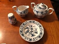 Style House Ming Tree Ironstone Creamer/Pitcher Covered Sugar Lid Shaker Saucers