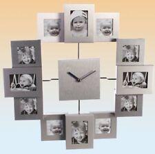 Aluminium - Wanduhr mit 12 Fotorahmen Bilderrahmen Bilderuhr Fotouhr Fotos Uhr