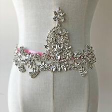 Shinny Crystal Rhinestone Applique Diamante Sew on Bridal Sash Belt Appliques