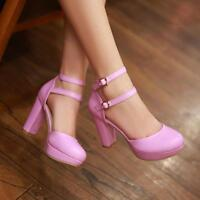 Women's Princess Mary Janes Pumps High Block Heels Round Toe Ankle Strap Shoes