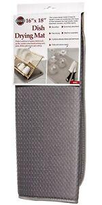 Norpro 16 x 18 Inches Microfiber Dish Drying Mat, Grey
