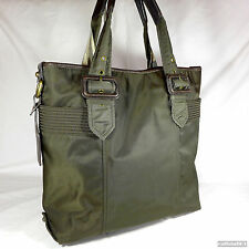 Rare Burberry Olive Green Canvas Large Shoulder Tote Handbag Very Good Condition