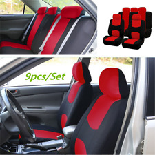 9PCS Red Car Interior Seat Cover Full Set Front Rear Seat Cushion Mat Protector