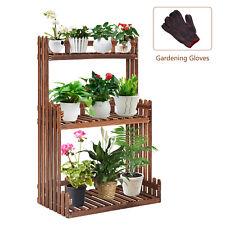 3-Tier Wooden Plant Stand Flower Pots Rack Display Shelf Indoor Outdoor Garden
