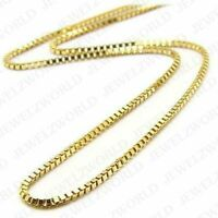 "Real 14K Solid Yellow Gold Italian Box Chain Necklace 0.8MM 16"" - 30"" inches"