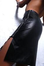 LUXUS ROCK SCHWARZ WEIß ORIGINAL MSQ D90 LUXURY LEATHER LOOK SEXY BLACK SKIRT L