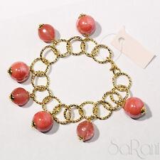 Bracciale Bigiotteria Bijoux Donna Catena Oro Perle Rosa con Ciondolo Elegante