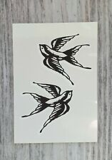 *UK SELLER* Small two swallows TEMPORARY TATTOOWaterproof Body Art /-a949-/