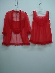 USA Made Nancy King Lingerie 3 Piece Baby Doll Pajama Size Red Small #933Q
