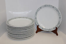 """ROSENTHAL GERMANY MCM GREEN ABSTRACT FLOWERS BIRDS; 12 - 10"""" DINNER PLATES; VGUC"""