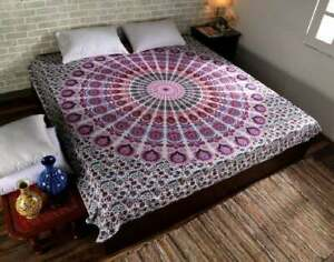 Mandala Multi Peacock Print Wall Hanging Decor Boho Hippie Queen Size Bedspread