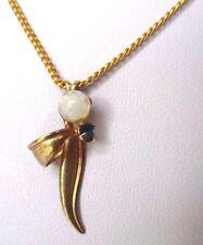 pendentif collier bijou vintage solitaire cristal saphir couleur or perle 333
