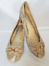 Coach Womens Leather Snake Print Slip On C logo Heel Shoes Size 7.5 B(US)