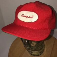 Vintage CAMPBELL Soup Company 70s 80s USA Red Hat Cap Strapback Derby PATCH RARE