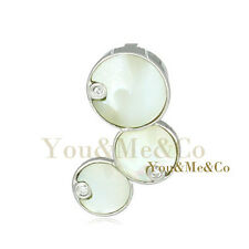 Natural Mother Of Pearl 925 Sterling Silver Circles Pendant