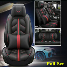 Deluxe Full Set Microfiber Leather Seat Cover Auto Car 5 Sits Protector Cushions