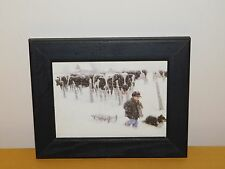 """VINTAGE 9"""" X 7"""" HOLSTEIN COW BOY SLED COLLIE DOG SNOW FRAMED  WALL PICTURE"""