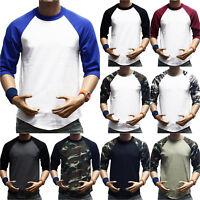 Mens 3/4 Sleeve Raglan Baseball T-Shirts Summer Casual Crew Neck Tee Tops Jersey