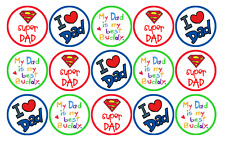 15 x FATHERS DAY EDIBLE 4CM FAIRY CUP CAKE TOPPERS FREE DELIVERY INCLUDED D4