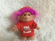 "Dam Purple/Pink Hair Troll Ski Bum 5"" Dam 1986 With Hat"