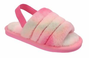 Ladies Slippers Girls Fluffy Mules Furry Open Toe Rainbow Fur Shoes Sandals Size