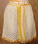 Vtg Half Apron Hand Made of Dishcloths Yellow White Crochet Trim Ribbon Ties