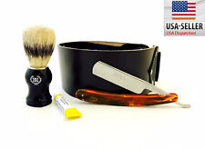 Straight Razor, Shaving Brush, Wide Leather Strop & Dovo paste