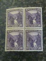NEWFOUNDLAND POSTAGE STAMPS SG157 TEN CENTS BLOCK OF 4 LIGHTLY MOUNTED MINT