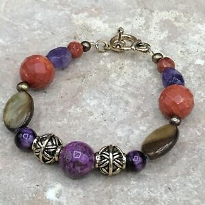 Barse Ecuador Toggle Bracelet- Mixed Stones- Bronze- NWT