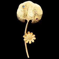 Natural London Blue Topaz & Pink Tourmaline Handmade Gold & Silver 925 Brooch