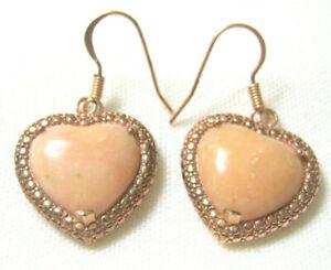 ROSE Gold NOA Thailand Bronze Rose Quartz Dangle Drop HEART PIERCED EARRINGS