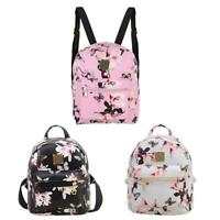 Women Floral Backpack Travel PU Leather Handbag Rucksack Shoulder Schoo hv2n