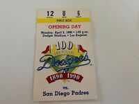 1990 Opening Day Los Angeles LA Dodgers Ticket Stub