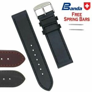 Banda Premium Grade Smooth Waterproof Leather Watch Bands, Sizes 14 - 24mm