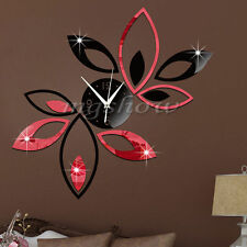 3D Clock Lotus DIY Art Acrylic Mirror Wall StickerTV Backdrop Home Decor Fashion