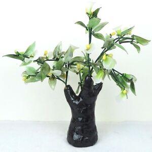 "Glass Artificial Flowers Bonsai Plant - White Yellow Porcelain Tree 13""H New"