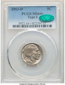 1913-D Type 2 Buffalo Nickel, PCGS MS64+ CAC ~ Super Nice Original Coin - csx