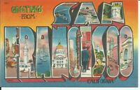 Greetings From San Francisco California Large Letter Postcard