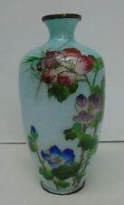 Antique Japanese Cloisonne Ginbari Vase Peonies Meiji Period Signed Silver Wires