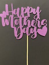 Happy Mother's Day Cake Topper Pink Glitter Card