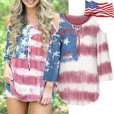 Hot American Flag Women Off Shouder Plus T-shirt 4th Of July Loose Tops Blouse
