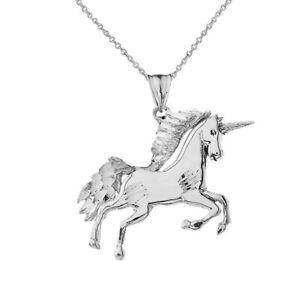 .925 Sterling Silver  Unicorn Pendant Necklace