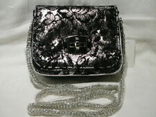 "EVENING BAG 18 x 15CM ""SILVER WITH BLACK LACE"" LONG CHAIN STRAP ""NEW"" AUZ SELLER"