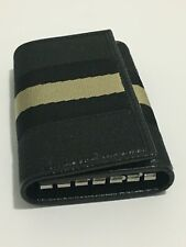 GUCCI Canvas Stripe Key Holder Case 6 Keys Slot Button Accessory Black