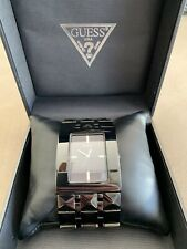 Guess Men's Rectangle Face Wrist Watch W/ Black Faceted Band In Original Box