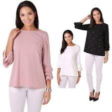 Beaded 3/4 Sleeve Hip Length Tops & Shirts for Women