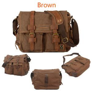 Leather Canvas Camera Bag Shoulder Vintage DSLR Messenger Bag for Canon/Nikon