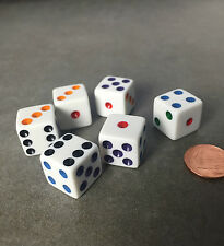 Set of 6 Six Sided D6 16mm Standard Dice Die - White with Multi-Color Pips