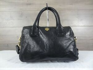 Tory Burch Black Leather Satchel Crossbody Shoulder Bag Handbag Handbag Purse
